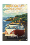 Bodega Bay, California - VW Van Coastal Print by  Lantern Press