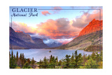 Glacier National Park, Montana - St. Mary Lake and Sunset Prints by  Lantern Press