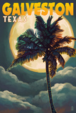 Galveston, Texas - Palm and Moon Poster