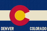 Denver, Colorado - Colorado State Flag Prints by  Lantern Press