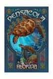 Pensacola - Florida - Sea Turtle Art Nouveau Prints by  Lantern Press