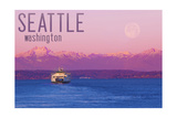 Seattle, Washington - Ferry and Purple Sunset Art by  Lantern Press