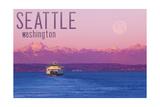 Seattle, Washington - Ferry and Purple Sunset Art