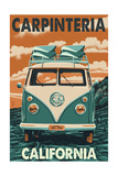 Carpinteria, California - VW Van Art by  Lantern Press