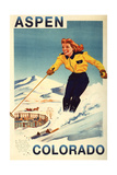 Aspen, Colorado - Red-Headed Woman Skiing Prints