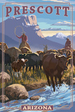 Prescott, Arizona - Cowboy Cattle Drive Scene Prints by  Lantern Press