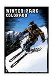 Winter Park, Colorado - Skier - Scratchboard Prints by  Lantern Press