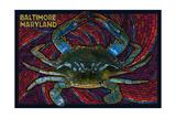 Baltimore, Maryland - Blue Crab Paper Mosaic Plakater af  Lantern Press