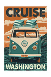 Cruise Washington - VW Van Prints by  Lantern Press