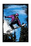 Snowboarder - Scratchboard Prints by  Lantern Press