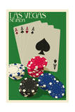 Las Vegas, Nevada - Poker Cards and Chips Posters by  Lantern Press