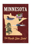 Minnesota - State Icons Poster by  Lantern Press
