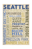 Seattle, Washington - Neighborhoods Typography Posters by  Lantern Press