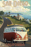 San Diego, California - VW Van Cruise Poster by  Lantern Press