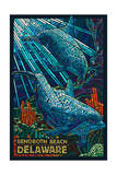 Rehoboth Beach, Delaware - Dolphin Mosaic Art by  Lantern Press