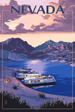 Nevada - Lake and Houseboats Poster by  Lantern Press