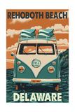 Rehoboth Beach, Delaware - VW Van Poster