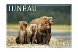 Juneau, Alaska - Grizzly Bear and Cubs Posters by  Lantern Press
