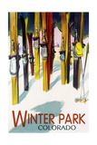 Winter Park, Colorado - Colorful Skis Premium Giclee Print by  Lantern Press