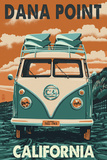 Dana Point, California - VW Van Blockprint Posters by  Lantern Press