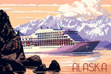 Alaska - Cruise Ship and Sunset Posters by  Lantern Press