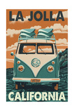 La Jolla, California - VW Van Prints by  Lantern Press