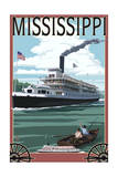 Mississippi - Riverboat and Rowboat Prints by  Lantern Press
