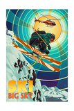 Big Sky, Montana - Heli-Skiing Prints by  Lantern Press