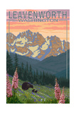 Leavenworth, Washington - Bears and Spring Flowers Print