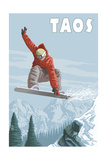 Taos, New Mexico - Jumping Snowboarder Prints