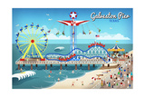 Galveston, Texas - Retro Pier Art by  Lantern Press