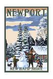 Newport, New Hampshire - Snowman Scene Poster