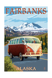 Fairbanks, Alaska - VW Van Cruise Poster by  Lantern Press