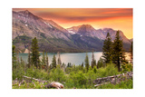 Glacier National Park, Montana - Lake and Peaks at Sunset Posters by  Lantern Press