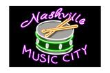 Nashville, Tennesse - Neon Drum Sign Poster by  Lantern Press