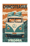 Chincoteague, Virginia - VW Van Prints by  Lantern Press