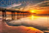 Outer Banks, North Carolina - Pier and Sunset Prints by  Lantern Press