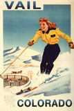 Vail, Colorado - Red-Headed Woman Skiing Posters by  Lantern Press