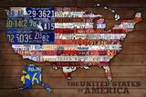 Americana - License Plate Map 高品質プリント : ランターン・プレス