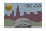 Chicago, Illinois - Skyline Prints by  Lantern Press