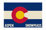 Aspen - Snowmass, Colorado State Flag Prints by  Lantern Press