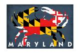 Maryland - Crab Flag Kunst af  Lantern Press