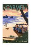 Carmel, California - Woody on the Beach Affiches par  Lantern Press