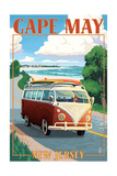 Cape May, New Jersey - VW Van Coastal Drive Prints