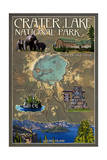 Crater Lake National Park, Oregon - Map and Icons Posters by  Lantern Press