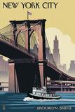 New York City, New York - Brooklyn Bridge Poster von  Lantern Press