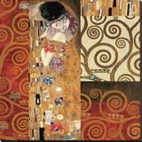 Deco Collage Detail (from The Kiss) Trykk på strukket lerret av Gustav Klimt