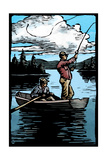 Fishermen - Scratchboard Posters by  Lantern Press