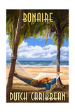 Bonaire, Dutch Caribbean - Hammock and Palms Print by  Lantern Press