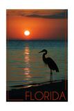 Florida - Heron and Sunset Posters